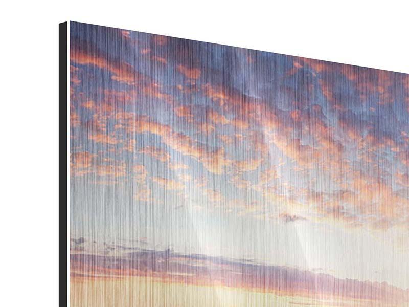 Metallic-Bild 5-teilig Ein Blumenfeld bei Sonnenaufgang