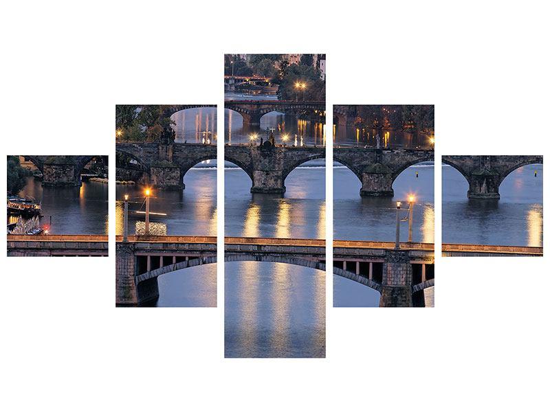 Metallic-Bild 5-teilig Brücken in Prag