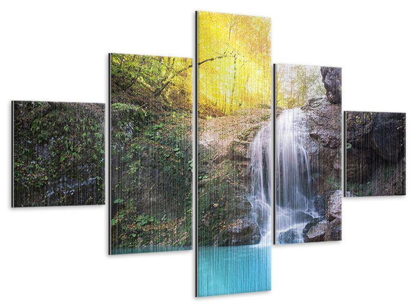 Metallic-Bild 5-teilig Fliessender Wasserfall