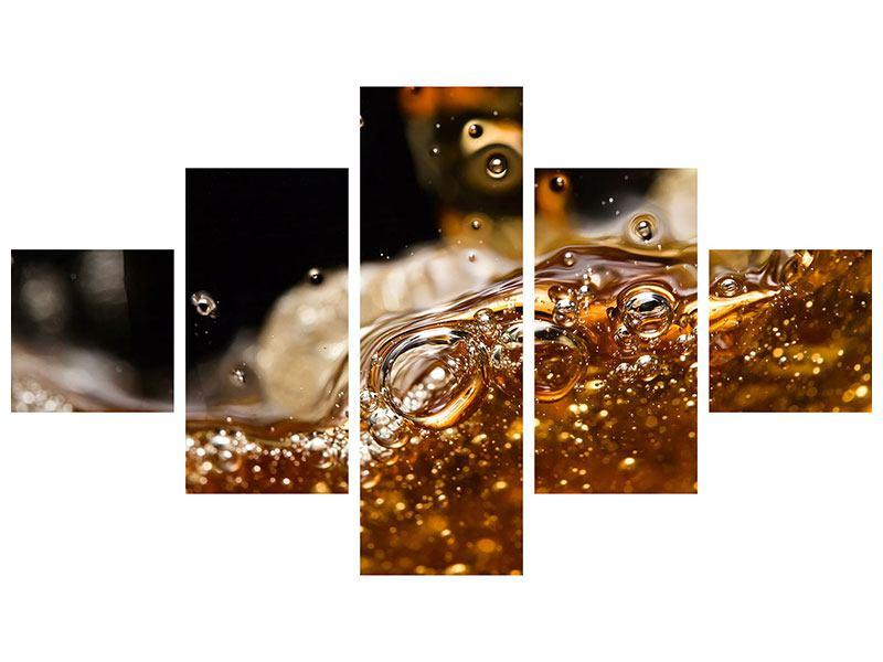 Metallic-Bild 5-teilig Cognac