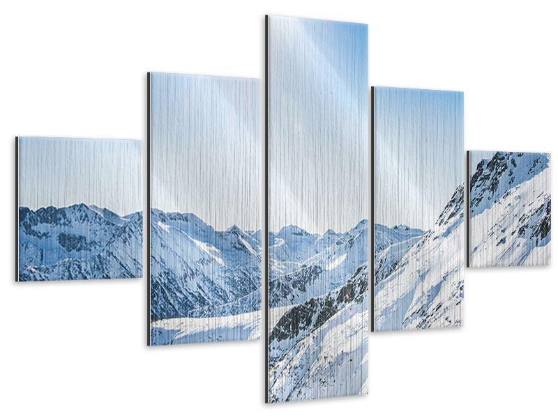 Metallic-Bild 5-teilig Bergpanorama im Schnee