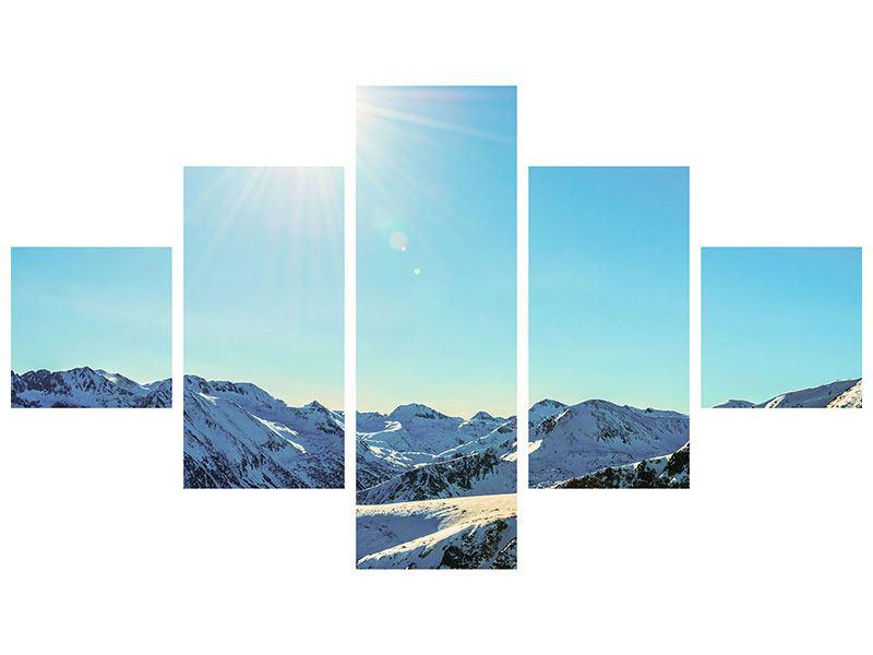 Metallic-Bild 5-teilig Sonnige Berggipfel im Schnee