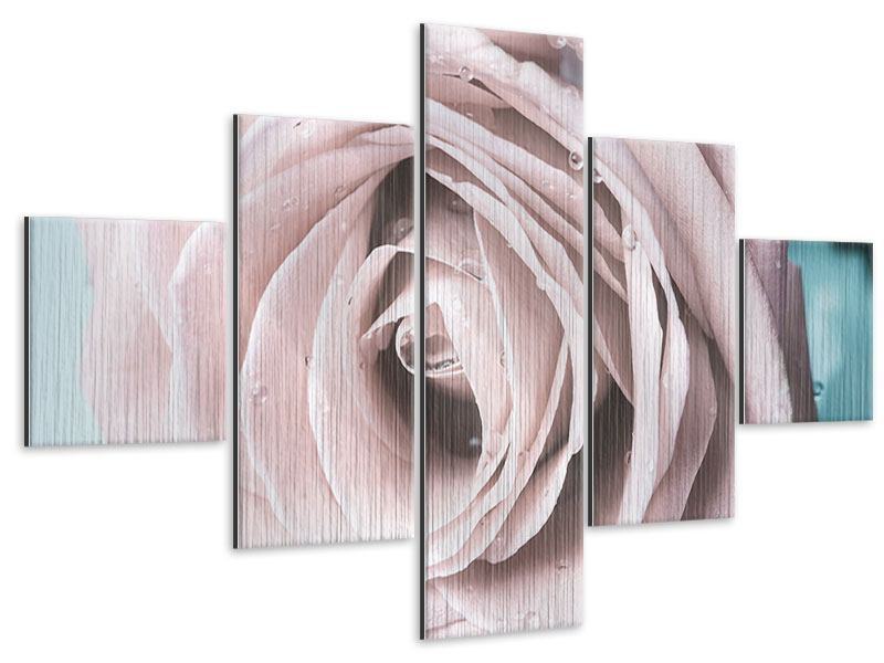 Metallic-Bild 5-teilig Pastellrose