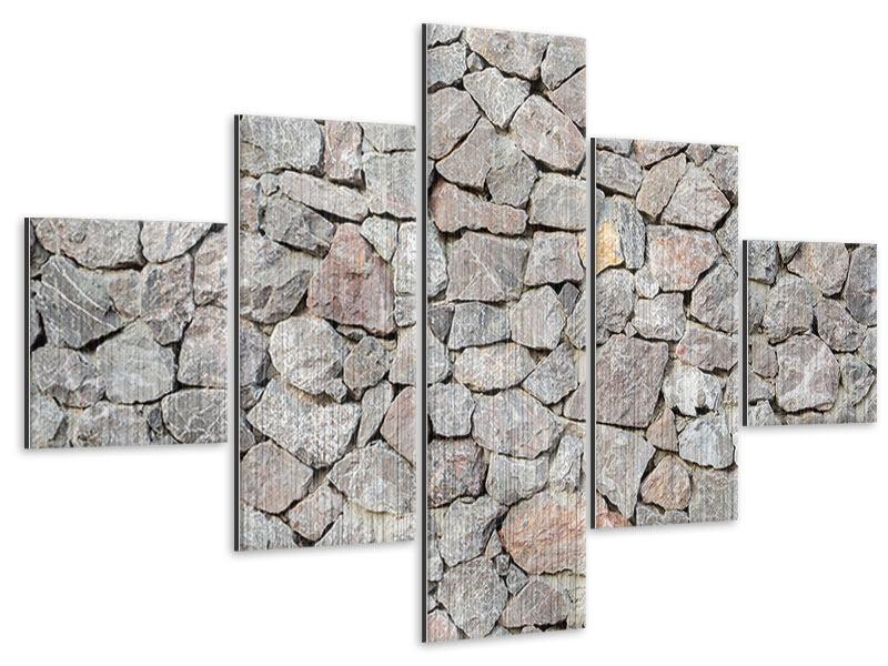 Metallic-Bild 5-teilig Grunge-Stil Mauer