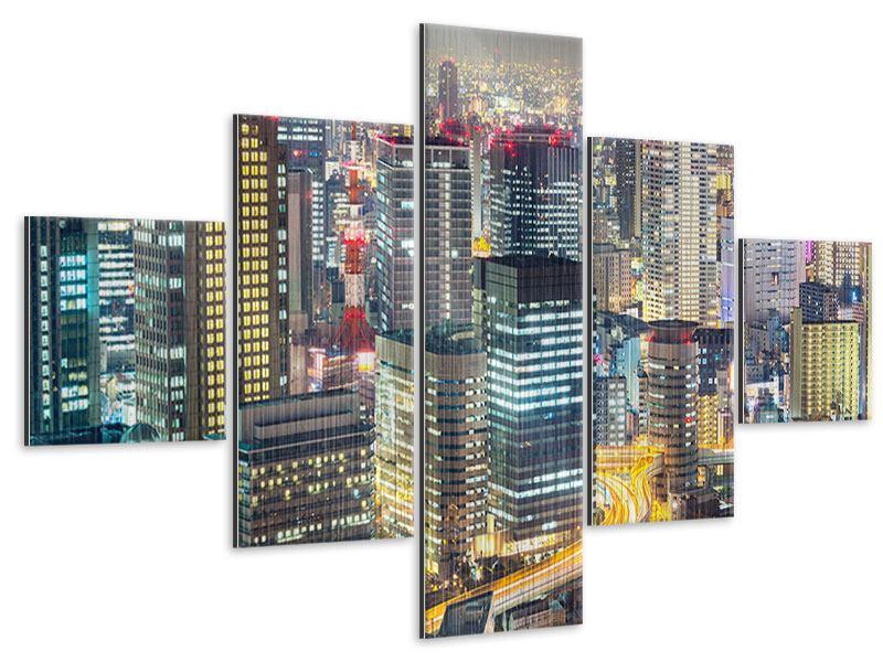 Metallic-Bild 5-teilig Skyline Osaka im Lichtermeer