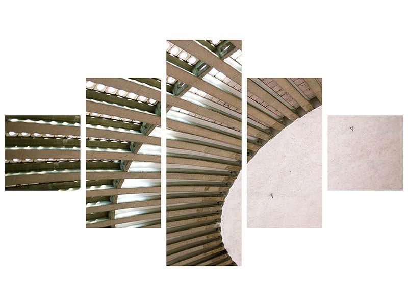 Metallic-Bild 5-teilig Abstraktes Rad