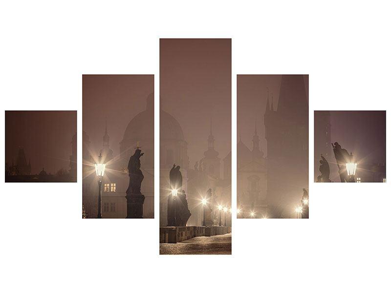 Metallic-Bild 5-teilig Die Karlsbrücke bei Nacht