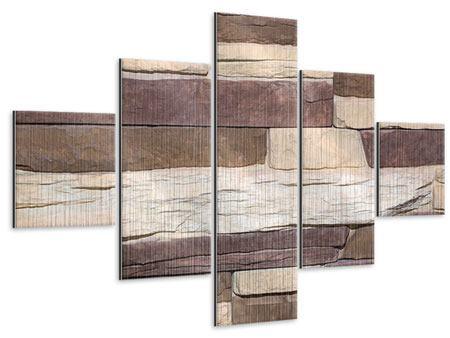 Metallic-Bild 5-teilig Designer-Mauer