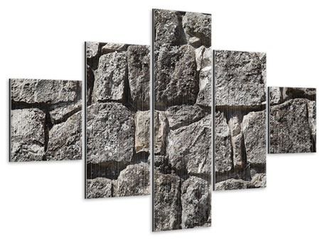 Metallic-Bild 5-teilig Grosses Mauerwerk