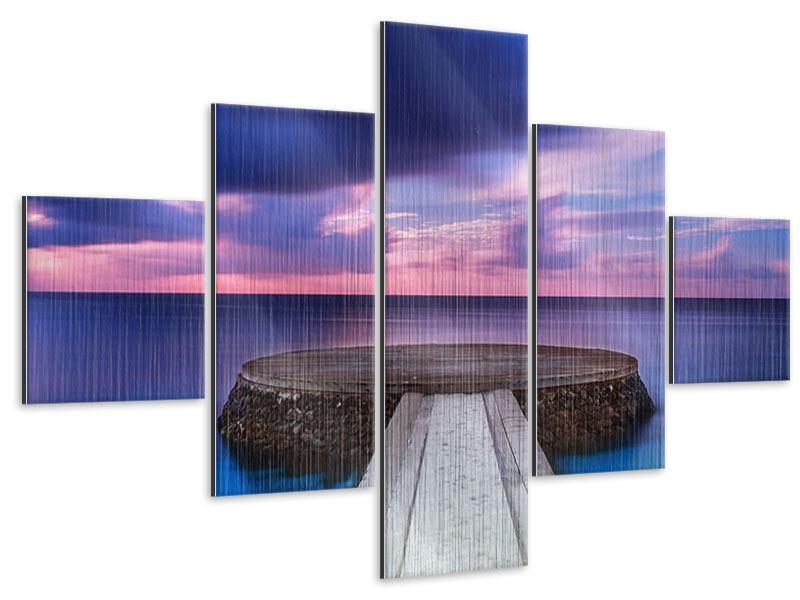 Metallic-Bild 5-teilig Meditation am Meer
