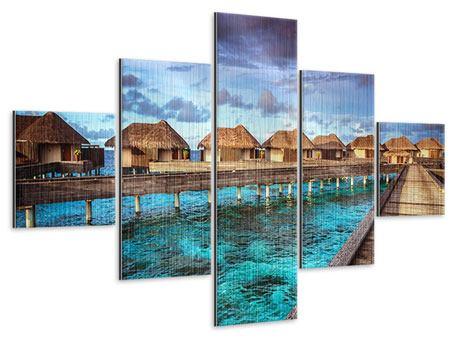 Metallic-Bild 5-teilig Traumhaus im Wasser