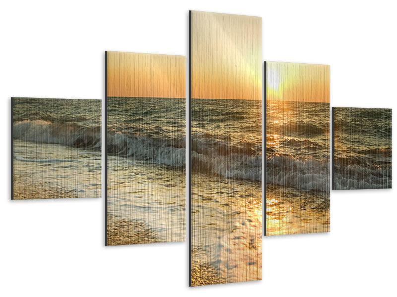 Metallic-Bild 5-teilig Sonnenuntergang am Meer