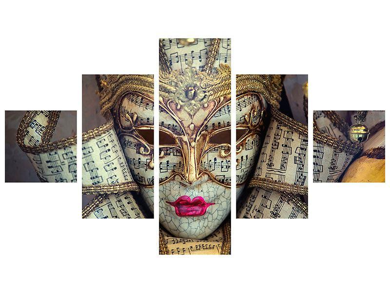 Metallic-Bild 5-teilig Venezianische Maske