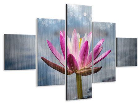 Metallic-Bild 5-teilig Lotus im Morgentau