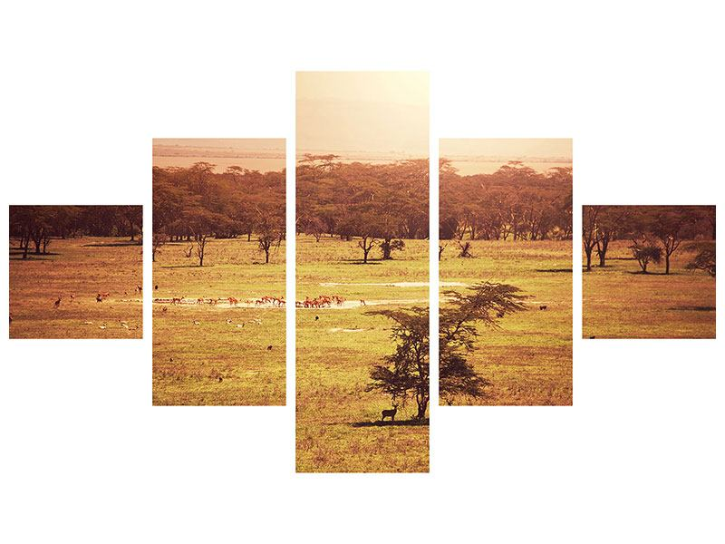 Metallic-Bild 5-teilig Malerisches Afrika