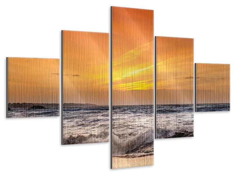 Metallic-Bild 5-teilig See mit Sonnenuntergang