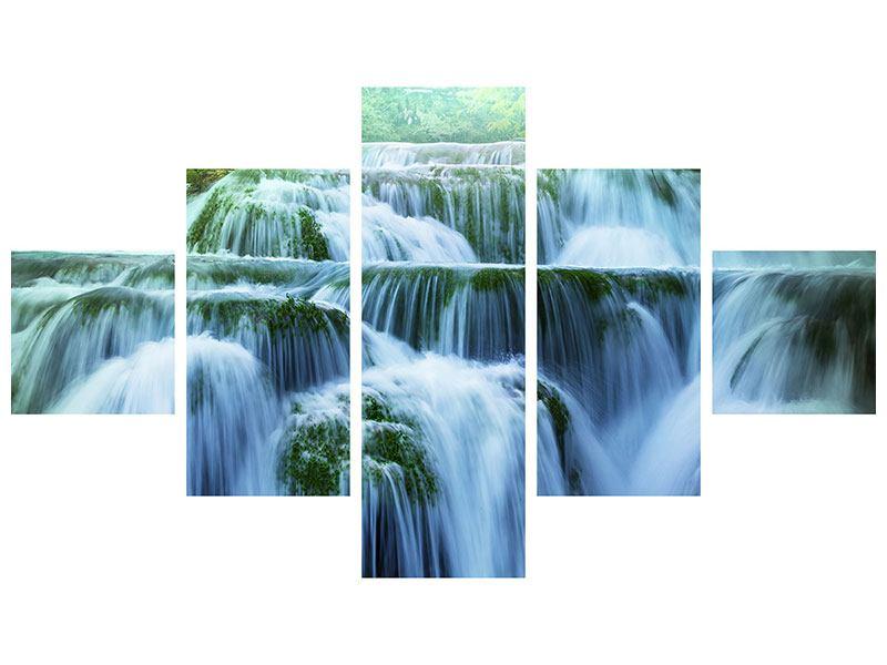 Metallic-Bild 5-teilig Gigantischer Wasserfall
