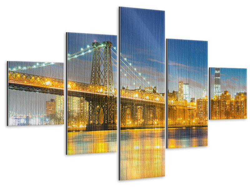 Metallic-Bild 5-teilig Brooklyn Bridge bei Nacht