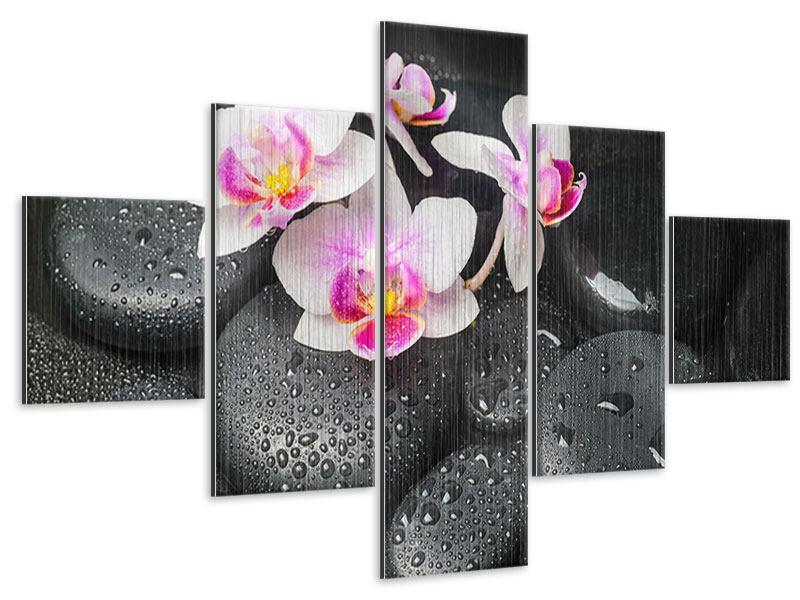 Metallic-Bild 5-teilig Feng-Shui-Orchidee Zen