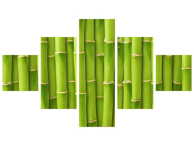 Metallic-Bild 5-teilig Bambuswand