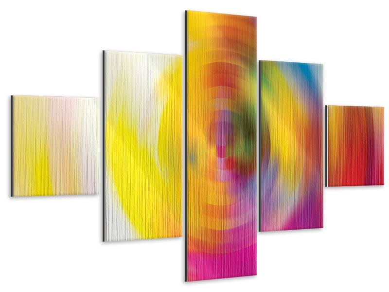 Metallic-Bild 5-teilig Abstrakte Farbkreise