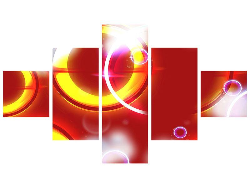 Metallic-Bild 5-teilig Abstraktes Retro