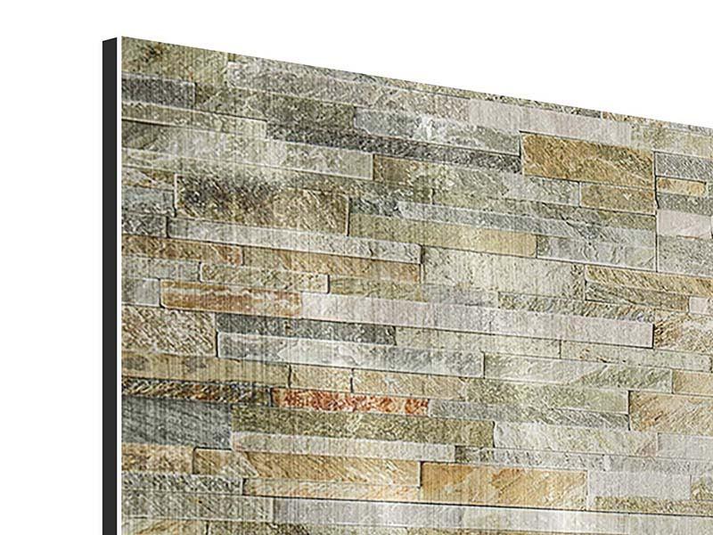 Metallic-Bild 5-teilig modern Edle Steinmauer