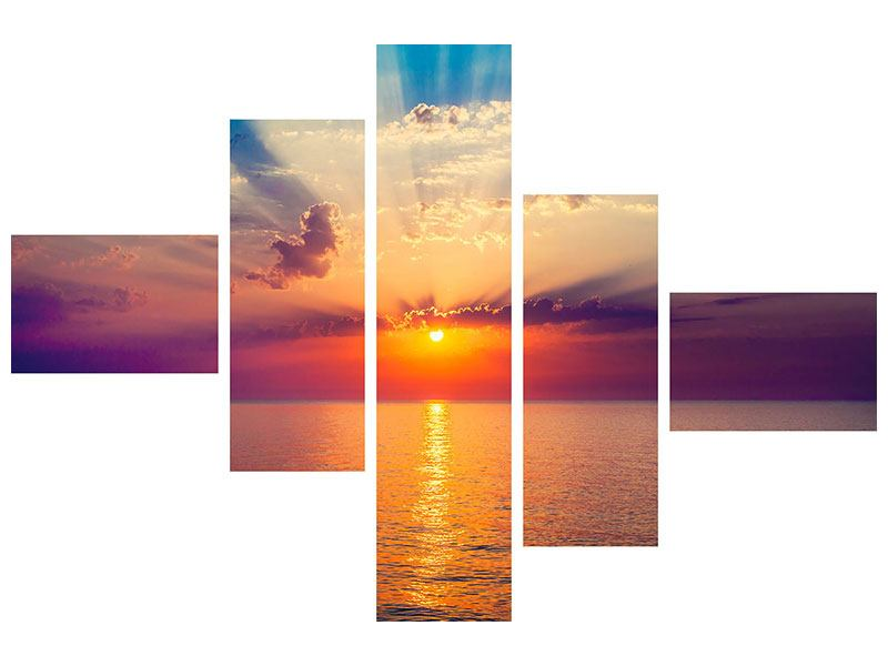 Metallic-Bild 5-teilig modern Mystischer Sonnenaufgang