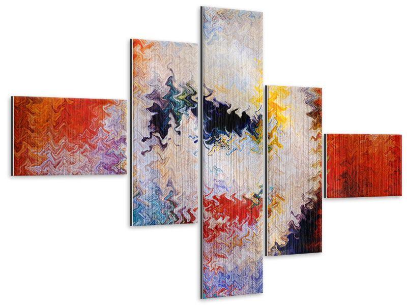 Metallic-Bild 5-teilig modern Wandmalerei