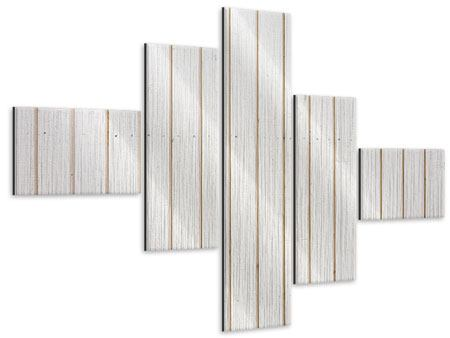 Metallic-Bild 5-teilig modern Mediterranes Holz