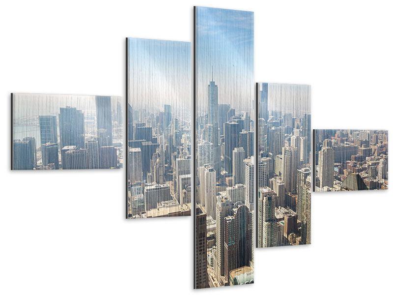 Metallic-Bild 5-teilig modern Wolkenkratzer Chicago