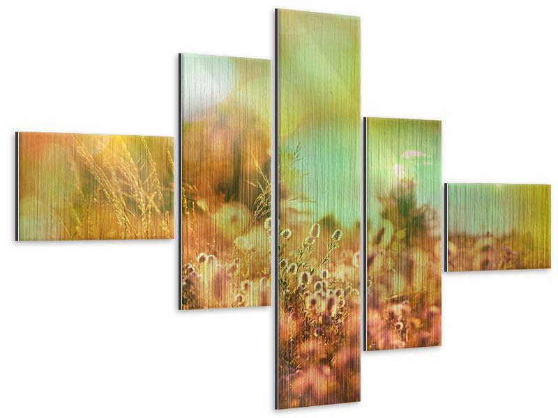 Metallic-Bild 5-teilig modern Blumenwiese in der Abenddämmerung