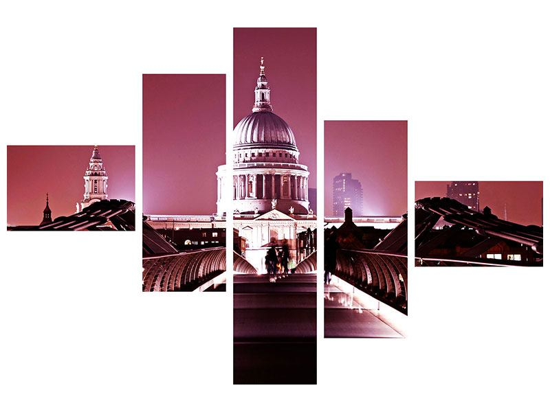 Metallic-Bild 5-teilig modern Millennium Bridge