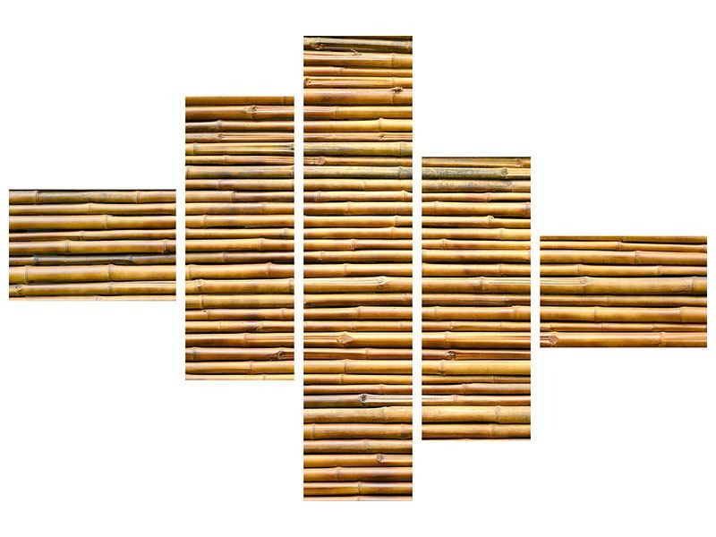 Metallic-Bild 5-teilig modern Bambus