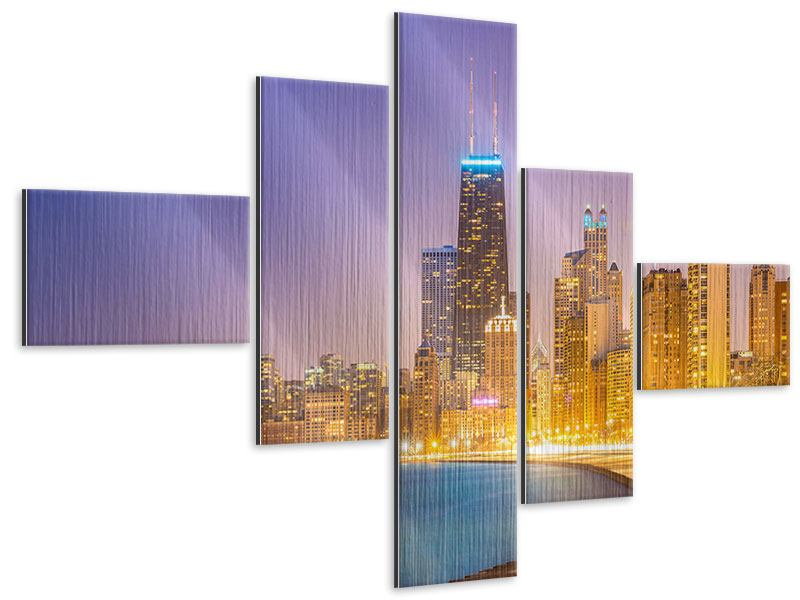 Metallic-Bild 5-teilig modern Skyline Chicago in der Nacht