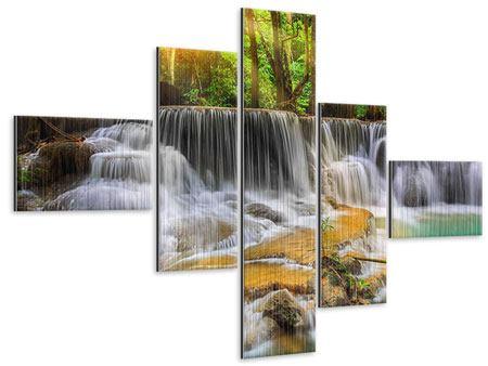 Metallic-Bild 5-teilig modern Nationalpark Si Nakharin