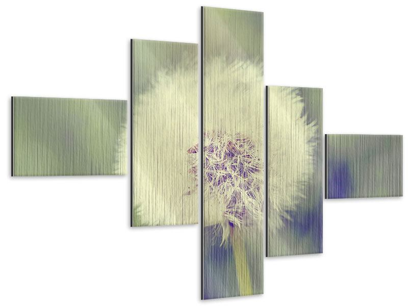 Metallic-Bild 5-teilig modern Die Pusteblume