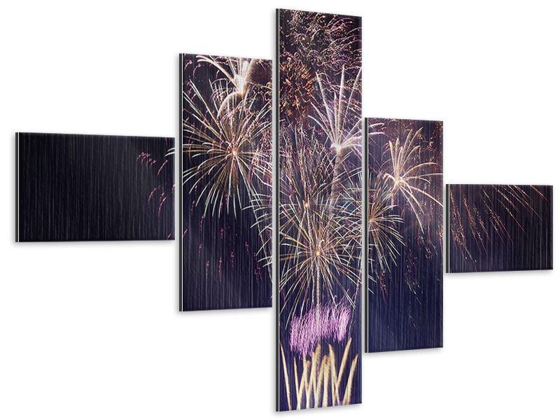 Metallic-Bild 5-teilig modern Feuerwerk