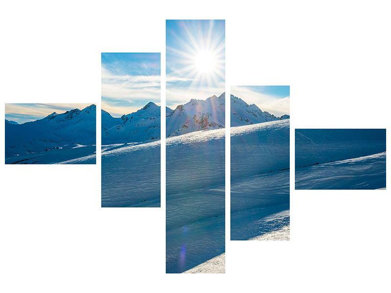 Metallic-Bild 5-teilig modern Ein Wintermärchen in den Bergen