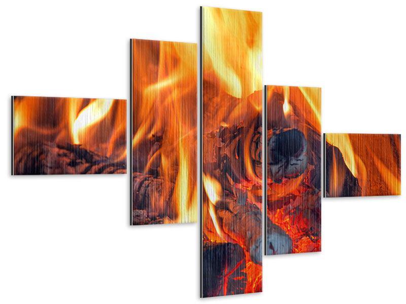 Metallic-Bild 5-teilig modern Lagerfeuer