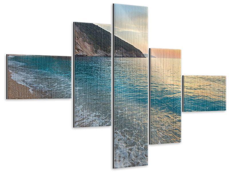 Metallic-Bild 5-teilig modern Felsen