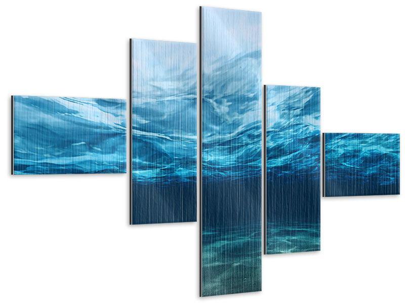 Metallic-Bild 5-teilig modern Lichtspiegelungen unter Wasser