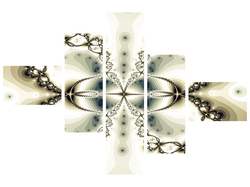 Metallic-Bild 5-teilig modern Abstrakter Schmetterling