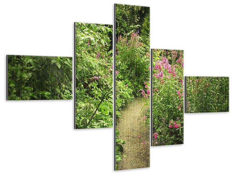 Metallic-Bild 5-teilig modern Gartenweg