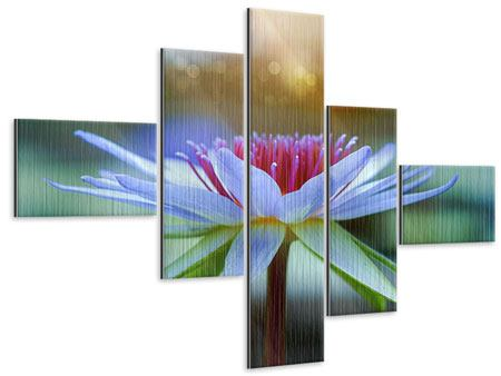 Metallic-Bild 5-teilig modern Pretty Lotus