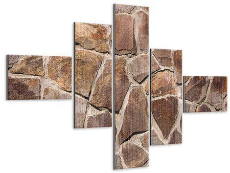 Metallic-Bild 5-teilig modern Designmauer
