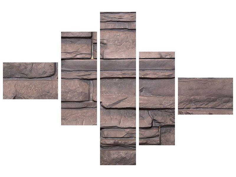 Metallic-Bild 5-teilig modern Luxusmauer