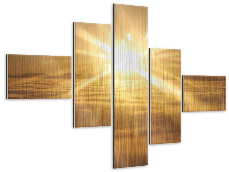 Metallic-Bild 5-teilig modern Über dem Wolkenmeer