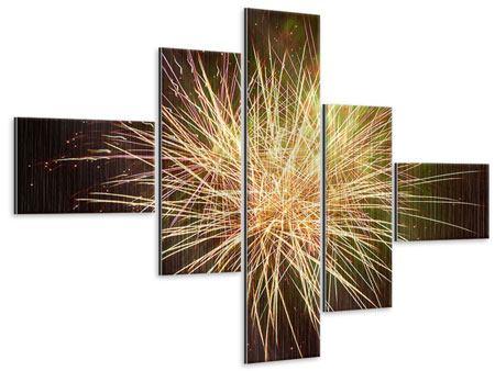 Metallic-Bild 5-teilig modern Feuerwerk XXL