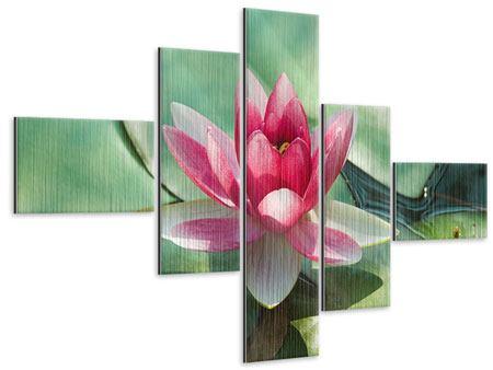 Metallic-Bild 5-teilig modern Der Frosch und das Lotusblatt